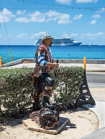pirate statue on the shore in