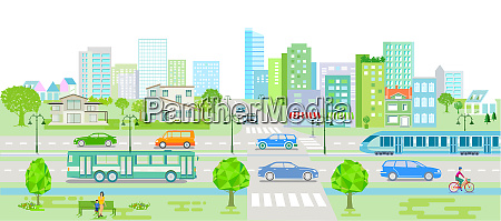 city silhouette with cars bus and