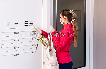 young woman shopping groceries for people