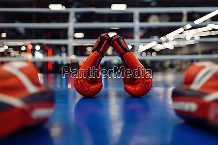 pair of red boxing gloves and