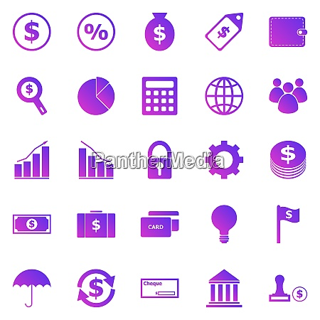 finance gradient icons on white background