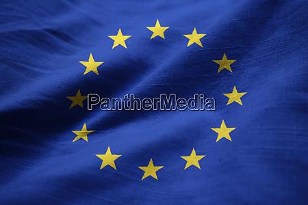closeup of ruffled european union flag