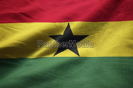 closeup of ruffled ghana flag ghana