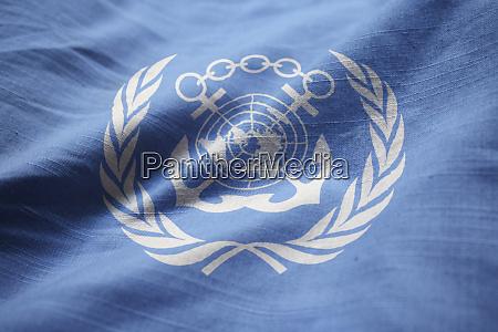 closeup of ruffled international maritime organization