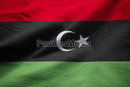 closeup of ruffled libya flag libya