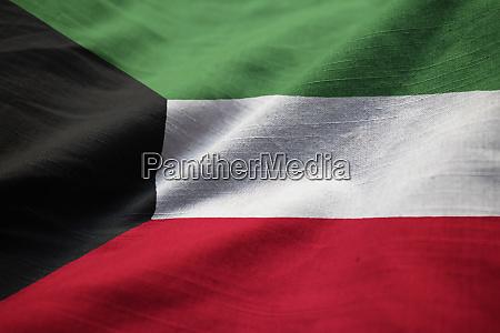 closeup of ruffled kuwait flag kuwait