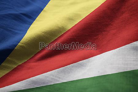 closeup of ruffled seychelles flag seychelles