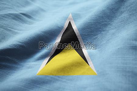 closeup of ruffled saint lucia flag
