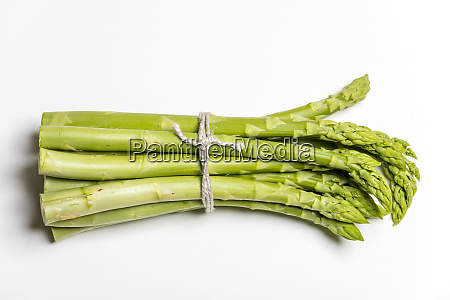 closeup of raw green asparagus