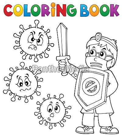 coloring book doctor fighting virus 1