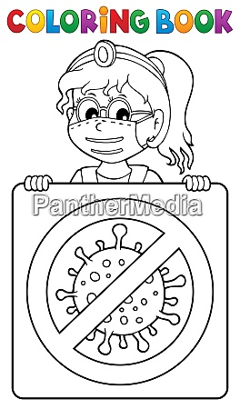 coloring book doctor with sign theme