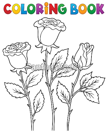 coloring book rose flower image 1