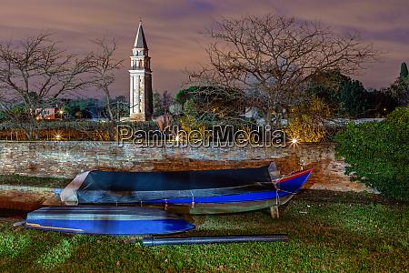 boats in burano venice at night