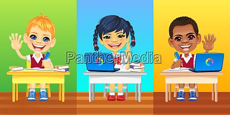 vector happy smiling schoolkids
