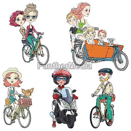vector set people ride a bike