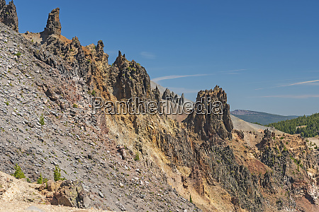 volcanic remnants on the side of