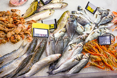 italian fish market with many different
