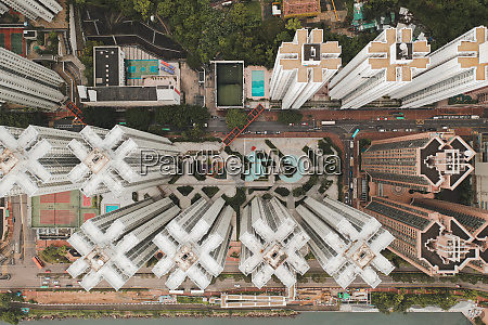 aerial view of tall apartments in
