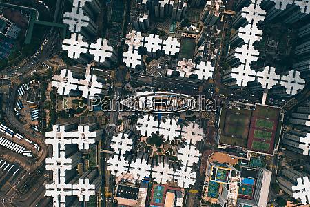 aerial view of boat between buildins