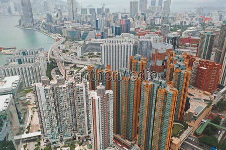 aerial view of tall apartment buildings