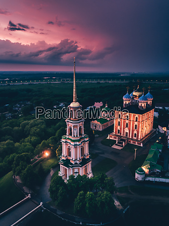 aerial view of ryazan kremlin after