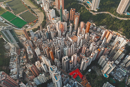 aerial view of hong kongs skyline