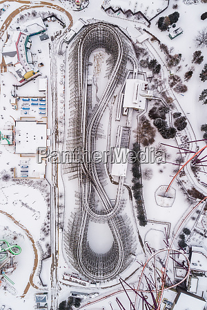 aerial view of roller coaster cover