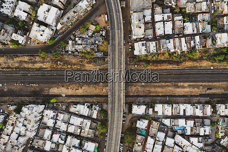 aerial view of empty streets in