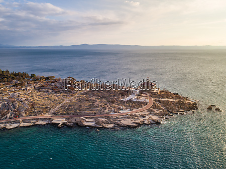 aerial view of lighthouse in makarska