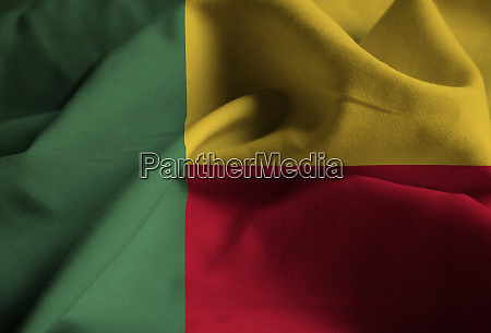 ruffled flag of benin blowing in