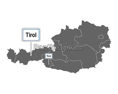 landkarte von OEsterreich mit ortsschild von