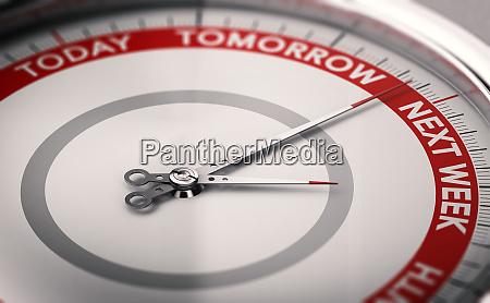 procrastination concept to postpone a date