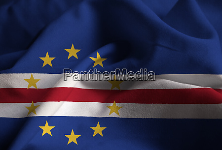 ruffled flag of cape verde blowing