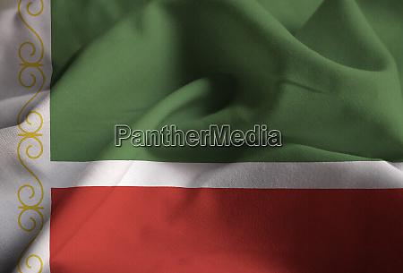closeup of ruffled chechen republic flag