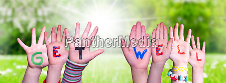 children hands building word get well