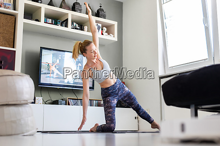 attractive sporty woman working out at