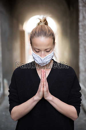 coronavirus outbreak young caucasian woman wearing