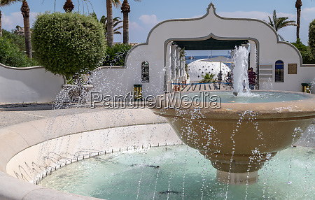 fountain at the entrance to the