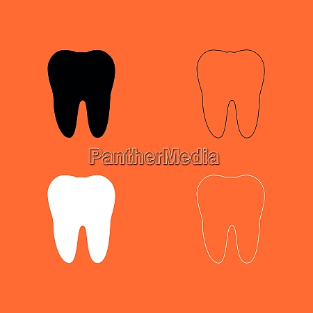 tooth black and white set icon