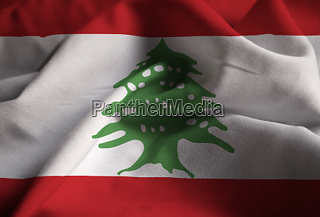 closeup of ruffled lebanon flag lebanon