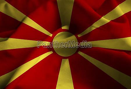 closeup of ruffled macedonia flag macedonia