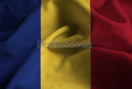 closeup of ruffled r omaniaflag romania