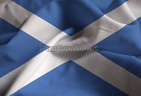 closeup of ruffled scotland flag scotland