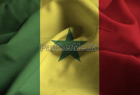 closeup of ruffled senegal flag senegal