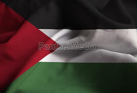 closeup of ruffled palestinian flag palestinian