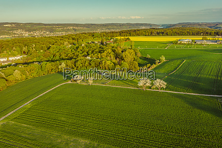 aerial view of the farm countryside