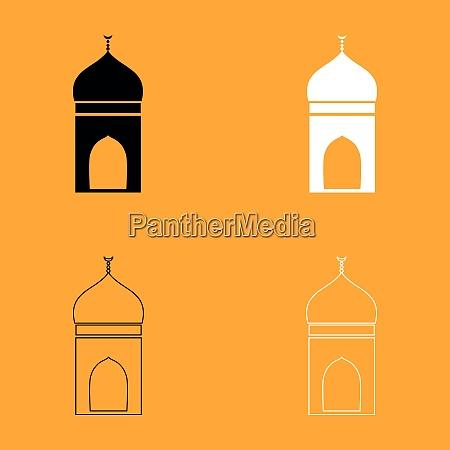 mosque set black and white icon