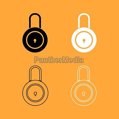 lock black and white set icon