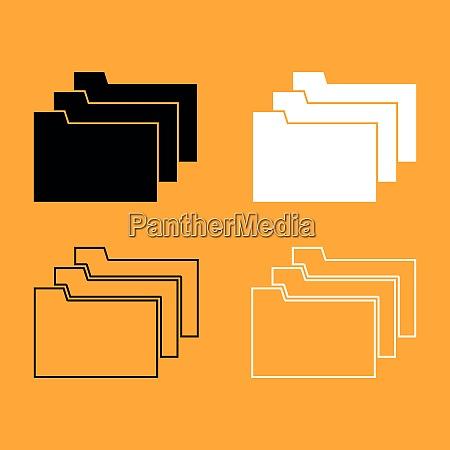 folders black and white set icon