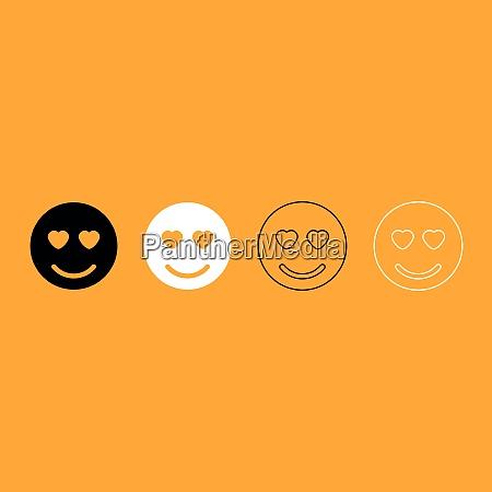 smile black and white set icon